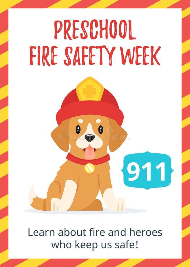 Плакат недели пожарной безопасности Preschool иллюстрация вектора
