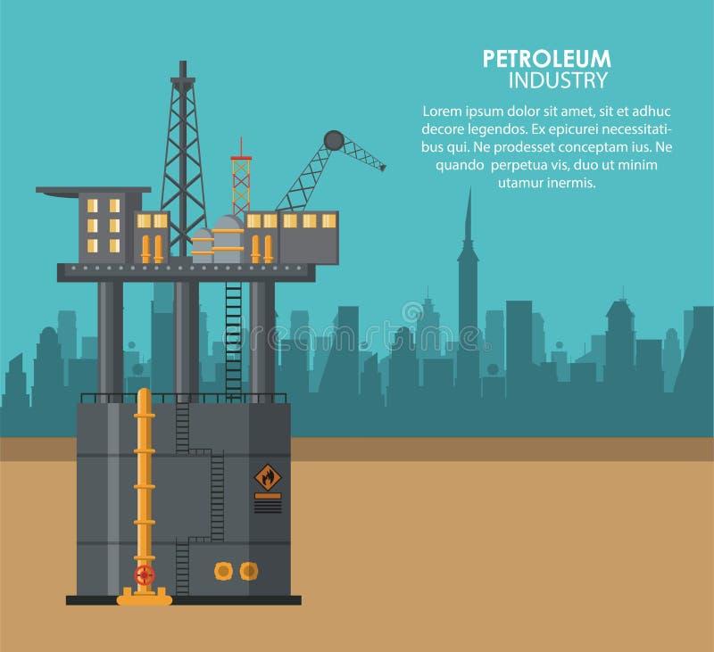 Плакат нефтяной промышленности иллюстрация штока