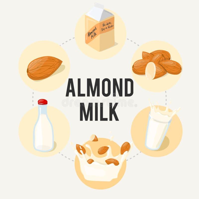 Плакат объявления вектора молока миндалины infographic Здоровый шарж еды иллюстрация штока