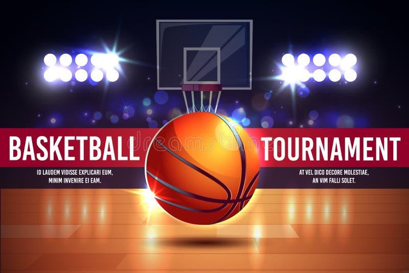 Плакат объявления мультфильма вектора, знамя с турниром баскетбола иллюстрация штока