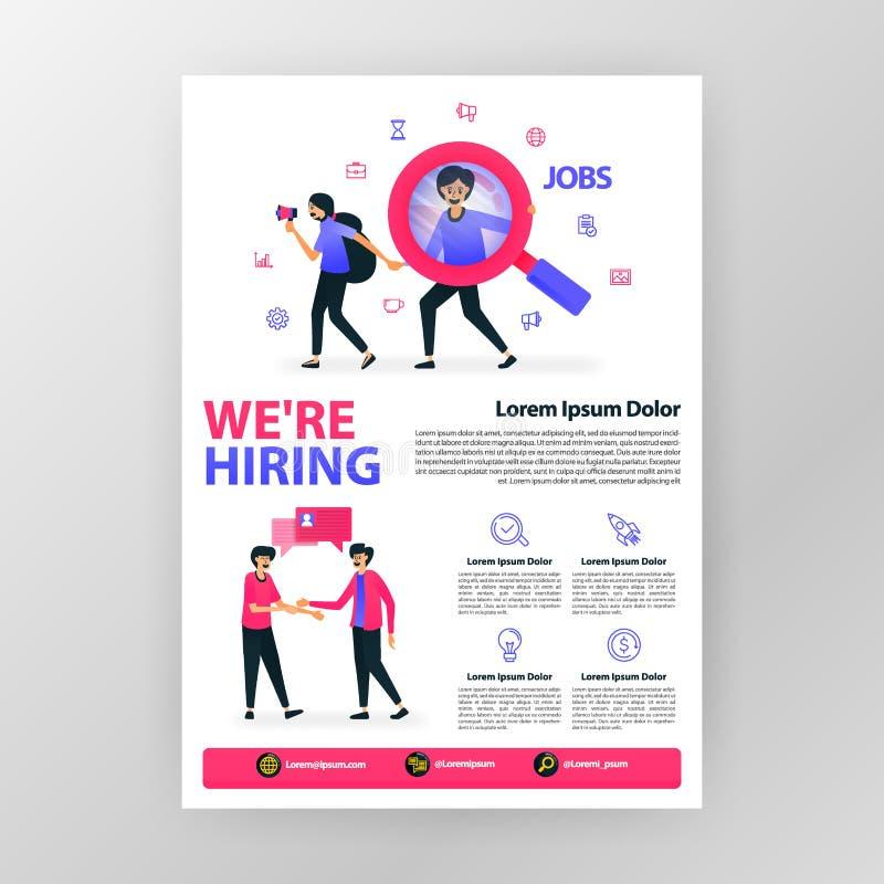Плакат объявления открытый вверх по вакансии мы нанимаем с иллюстрацией мультфильма вектора плоской magazi брошюры памфлета дела  бесплатная иллюстрация