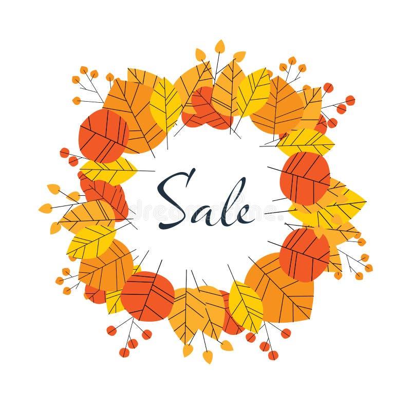 Плакат осени или вектора продажи падения или шаблон с листьями, листва знамени Предложения и продвижение скидок и бесплатная иллюстрация