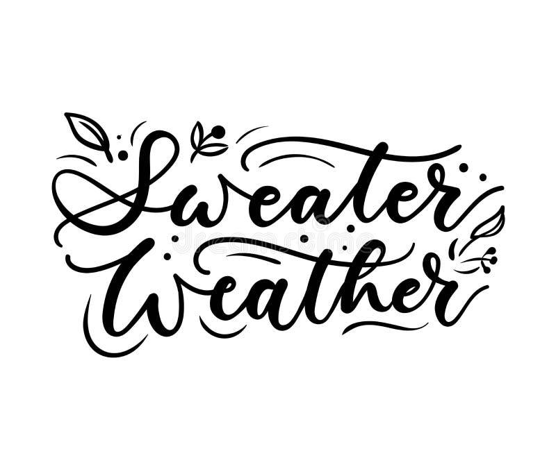 Плакат осени погоды свитера вдохновляющий с литерностью и doodles также вектор иллюстрации притяжки corel бесплатная иллюстрация