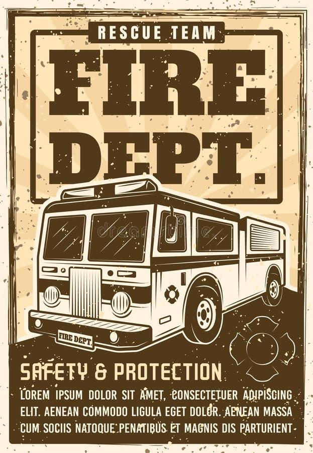 Плакат отделения пожарной охраны в винтажном стиле с тележкой иллюстрация штока