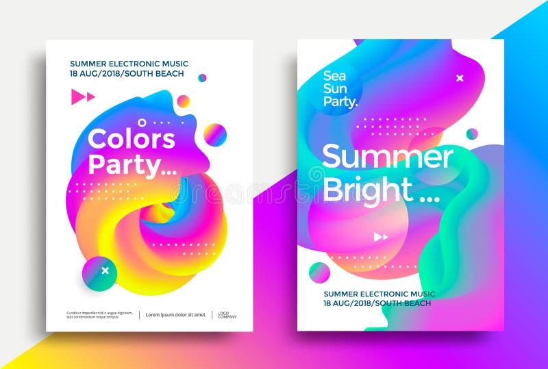 Плакат партии лета яркий иллюстрация вектора