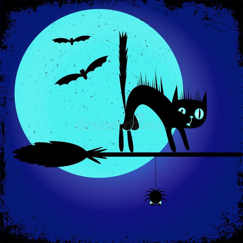 Плакат партии хеллоуина с черным котом на венике ` s ведьмы editable шаблон дизайна знамени иллюстрация вектора