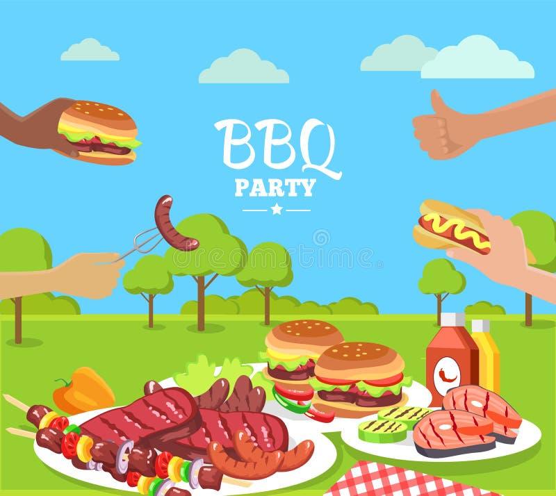 Плакат партии BBQ красочный с милым парком лета иллюстрация штока
