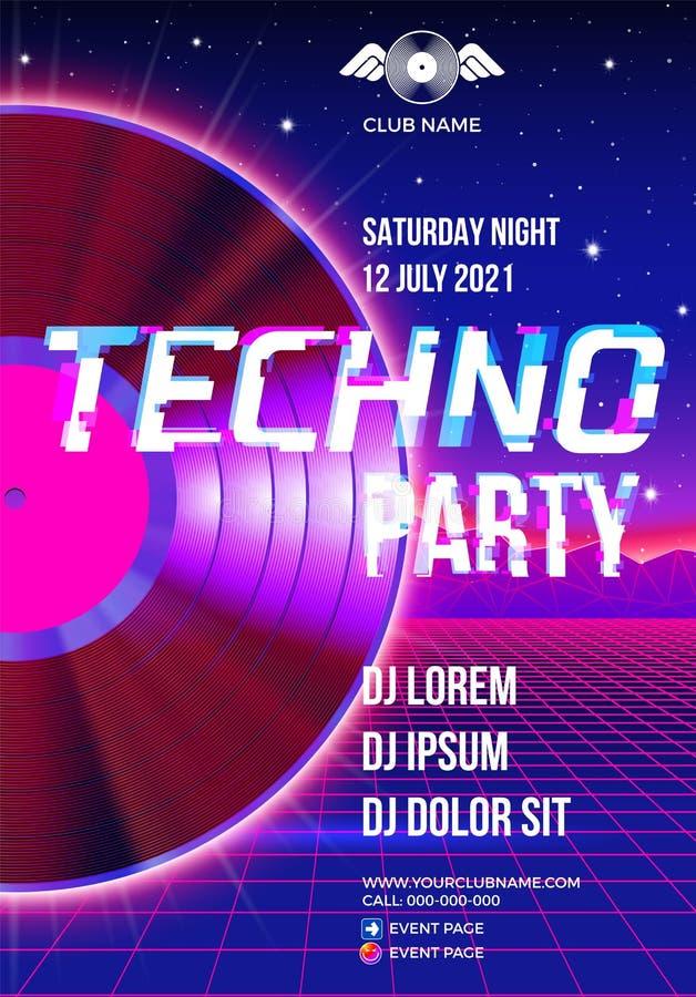 плакат партии 80s с голубой предпосылкой и винил lp для неистовства techno ретро бесплатная иллюстрация