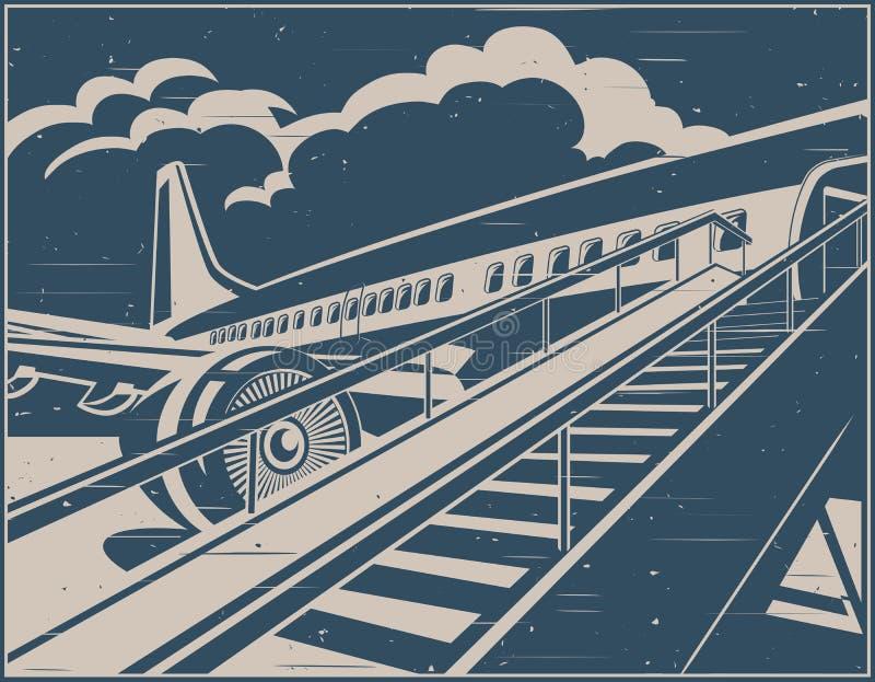 Плакат пассажиров авиалайнера двигателя ждать ретро бесплатная иллюстрация