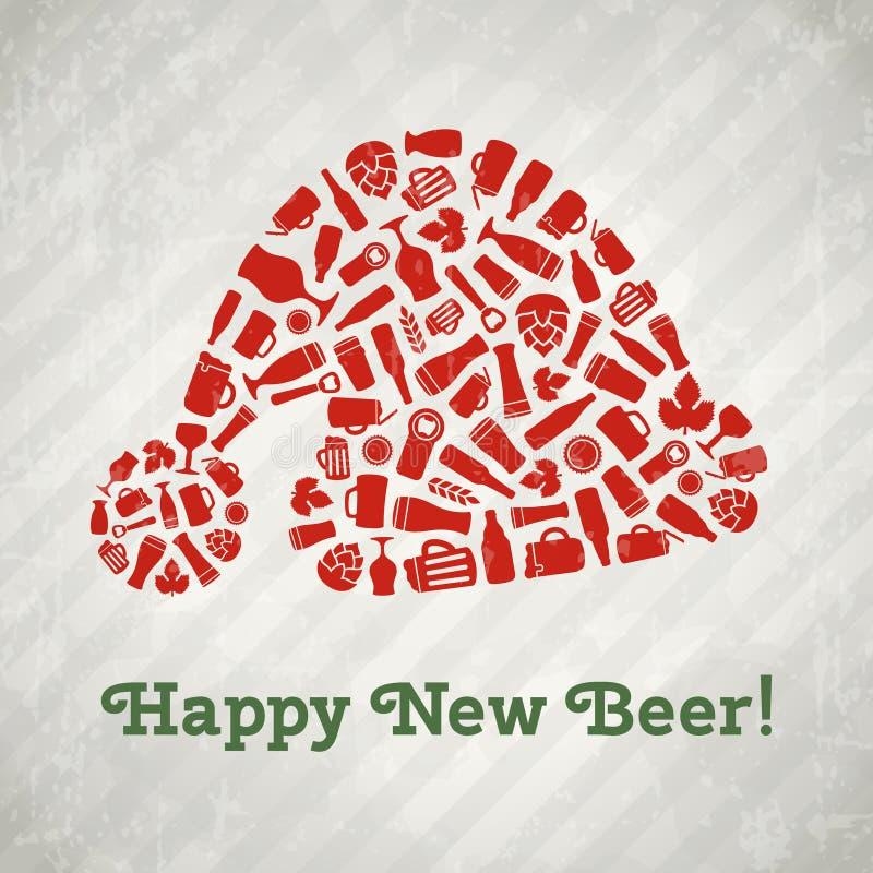 Плакат пива рождества шляпы Санта вектора иллюстрация вектора