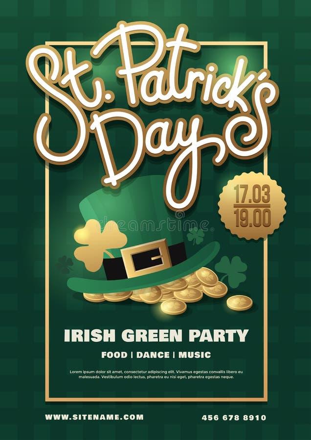 Плакат праздника с литерностью нарисованной рукой: Шляпа дня, лепрекона ` s St. Patrick и золотые монетки на зеленой предпосылке  иллюстрация штока
