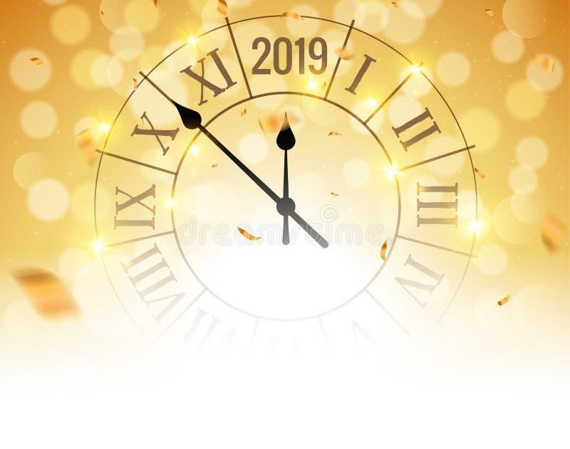 Плакат предпосылки bokeh Нового Года 2019 золотой сияющий с часами и confetti Рождественская открытка вектора праздничная бесплатная иллюстрация
