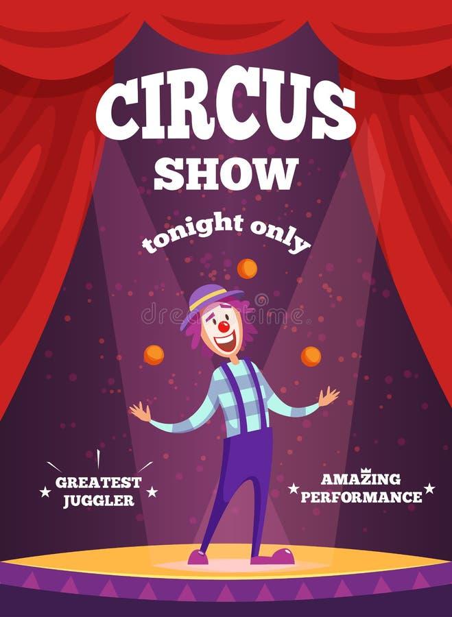 Плакат приглашения для выставки цирка или представления волшебников Иллюстрация клоуна жонглирует на сцене бесплатная иллюстрация
