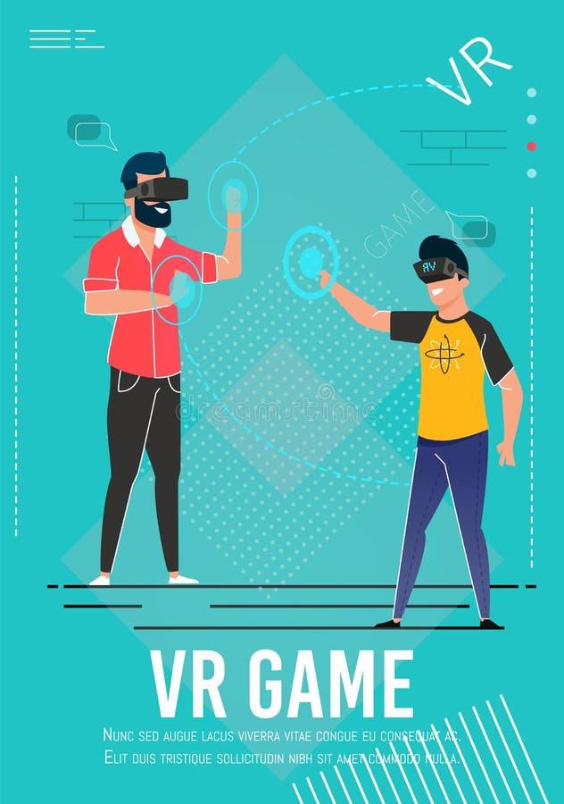 Плакат приглашения игры VR с Gamers мультфильма бесплатная иллюстрация
