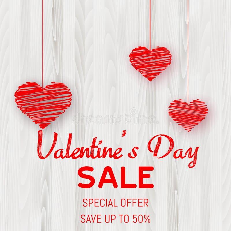 Плакат продажи дня Валентайн с красными сердцами на деревянной текстуре вектор иллюстрация вектора