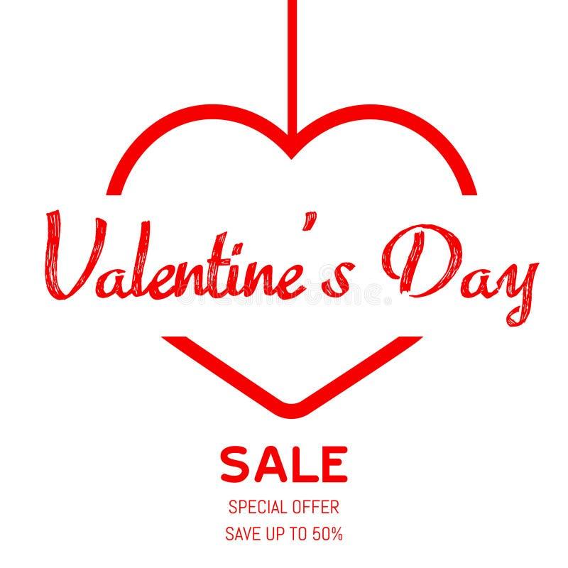 Плакат продажи дня Валентайн с красным сердцем вектор иллюстрация вектора