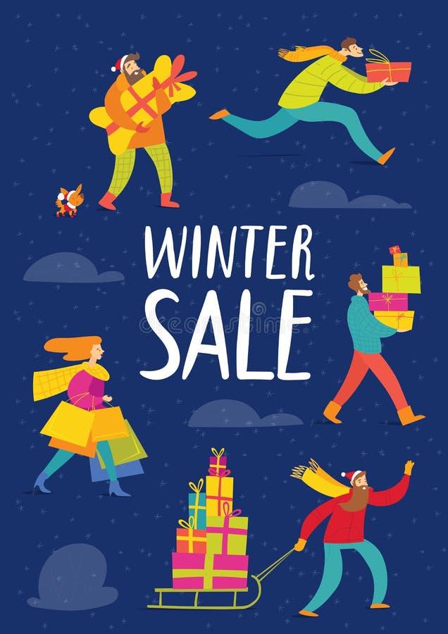 Плакат продажи зимы с ходить по магазинам людей вектора идя иллюстрация вектора