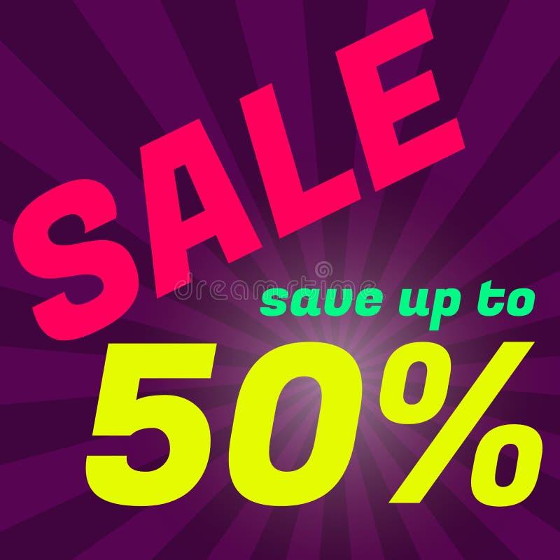 Плакат продажи, знамя Большая продажа, зазор 50  Графическое desig иллюстрация вектора