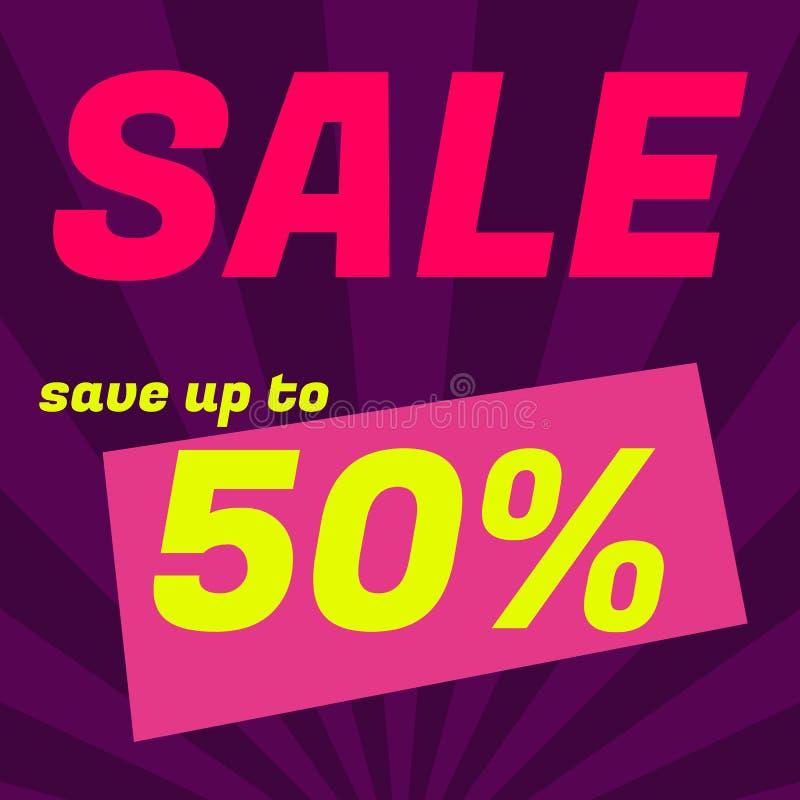 Плакат продажи, знамя Большая продажа, зазор 50  Графическое desig бесплатная иллюстрация