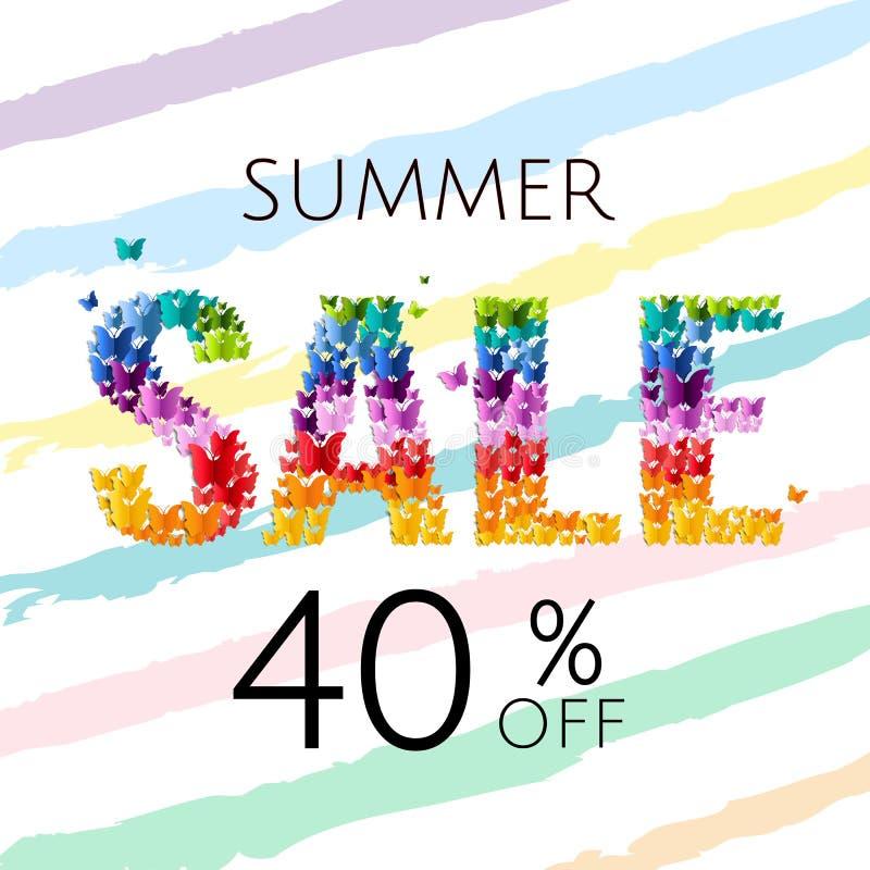 Плакат продажи с бабочкой стоковые фотографии rf