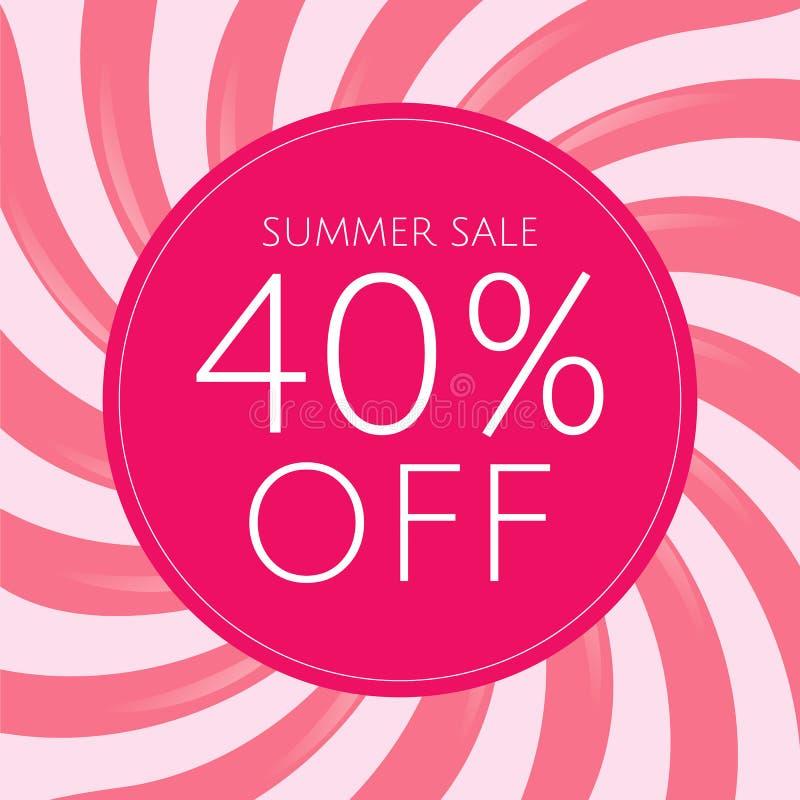 Плакат продажи с розовым Sunburst стоковое изображение rf
