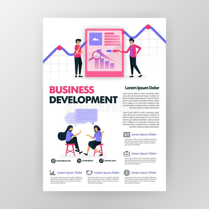 Плакат развития биснеса с плоской иллюстрацией мультфильма космос f плана дизайна обложки журнала брошюры памфлета дела flayer иллюстрация вектора