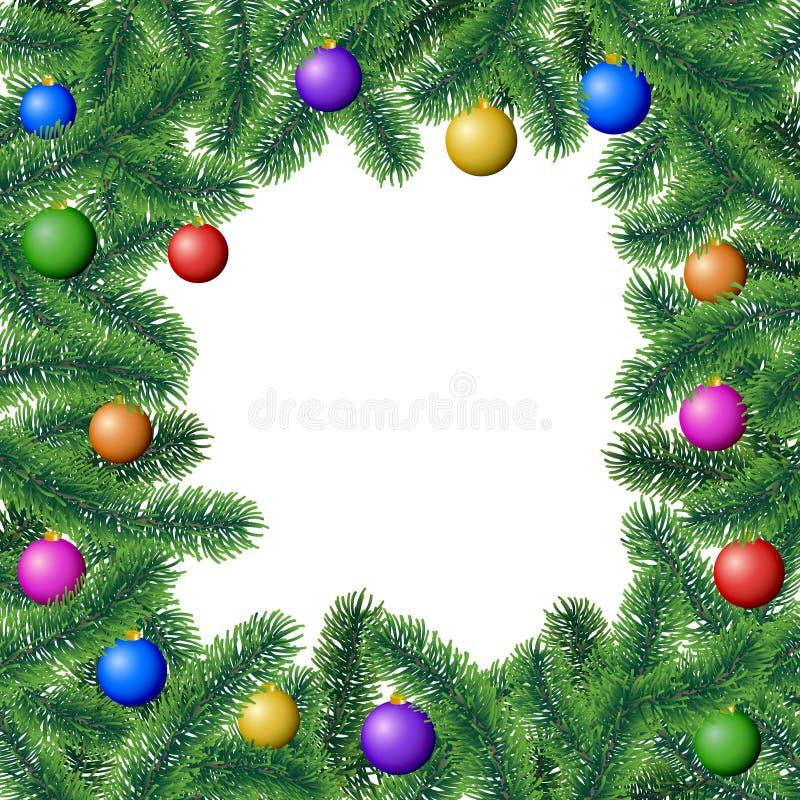 Плакат рамки зимы вектора с ветвями хвойного дерева с листьями иглы и вися красочными шариками рождества иллюстрация вектора