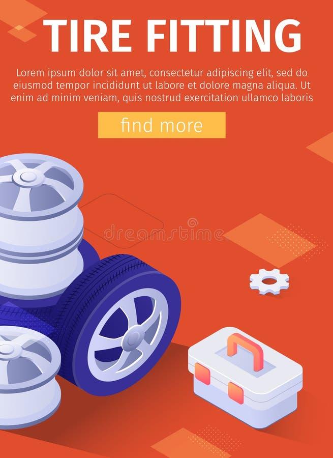 Плакат рекламы автошины приспосабливая для мобильного приложения иллюстрация штока