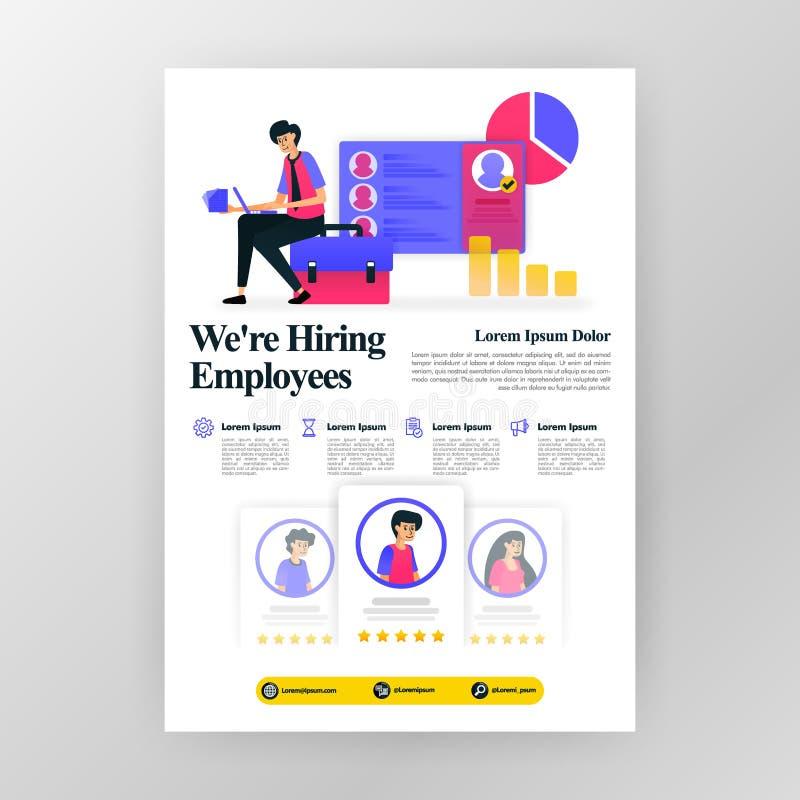 Плакат рекрутства работника, мы нанимаем объявления ищущих работы с плоской иллюстрацией мультфильма magaz брошюры памфлета дела  бесплатная иллюстрация