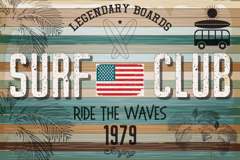 Плакат ретро Grunge занимаясь серфингом иллюстрация вектора