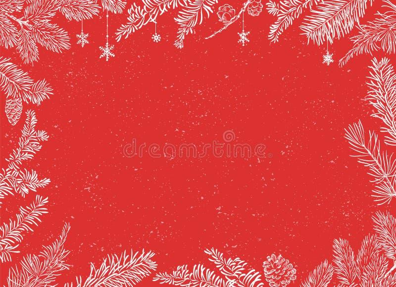 Плакат рождества Иллюстрация вектора предпосылки рождества с ветвями иллюстрация штока
