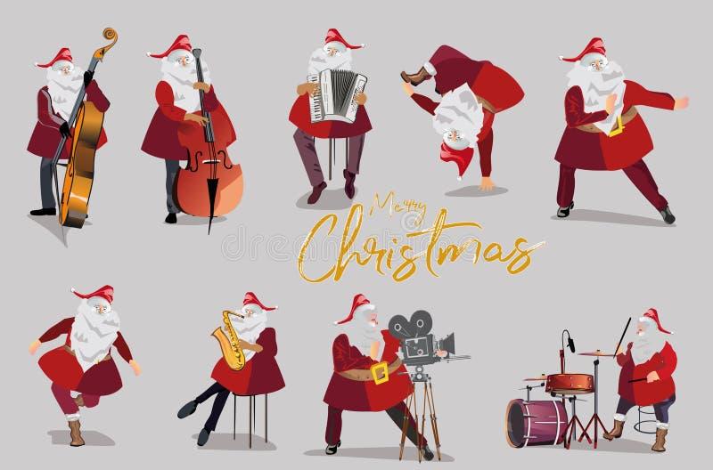 Плакат рождества с Санта Клаусом в старом городе приветствие рождества карточки бесплатная иллюстрация