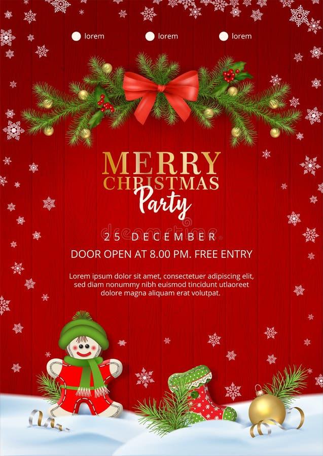 Плакат рождественской вечеринки иллюстрация вектора