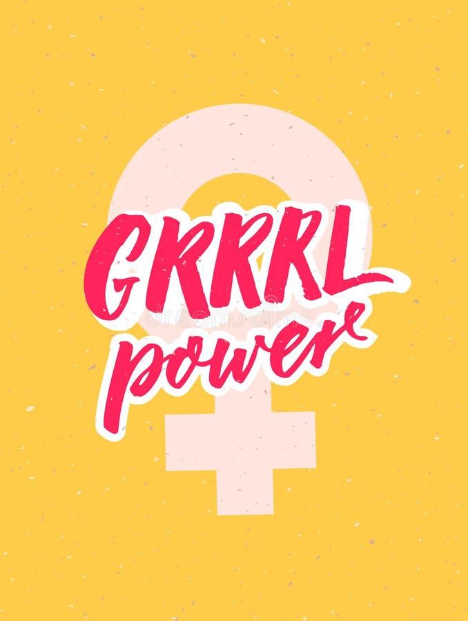Плакат силы девушки с женской литерностью знака и щетки на желтой предпосылке Печать для феминист одеяния, тройников и иллюстрация вектора