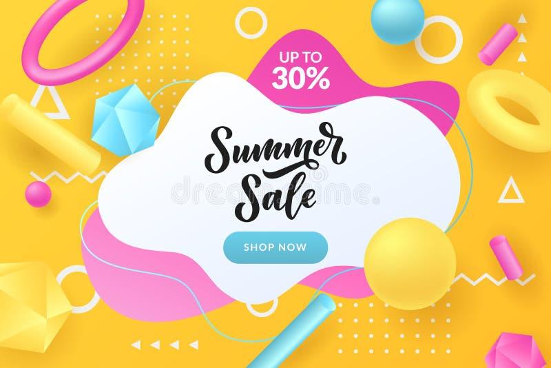 Плакат скидки и продажи лета, шаблон дизайна знамени Формы вектора 3d multicolor геометрические на желтой предпосылке иллюстрация штока