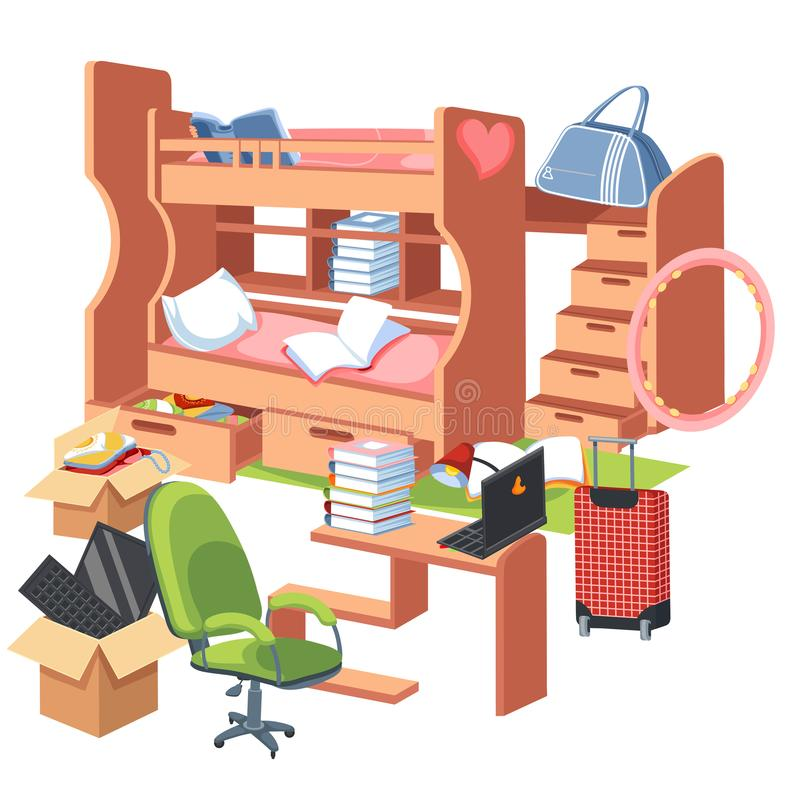 Плакат спальни студентов внутренний плоский красочный с двухъярусной кроватью с местом для работы ящиков для таблицы домашней раб иллюстрация вектора