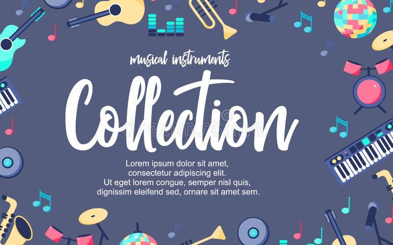 Плакат с музыкальными инструментами на серой голубой предпосылке Музыкальное собрание intstuments с дополнительным местом иллюстрация штока