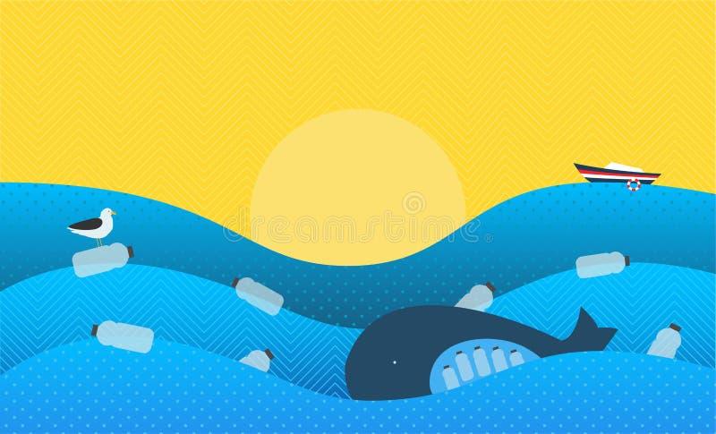 Плакат с экологической темой: Пластичное загрязнение в океане Кит с пластичными бутылками в животе, морская птица сидя на Fl иллюстрация вектора