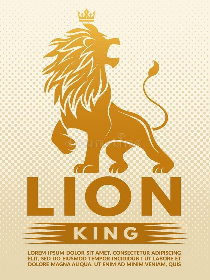 Плакат с monochrome иллюстрацией короля льва Шаблон дизайна с местом для вашего текста иллюстрация вектора