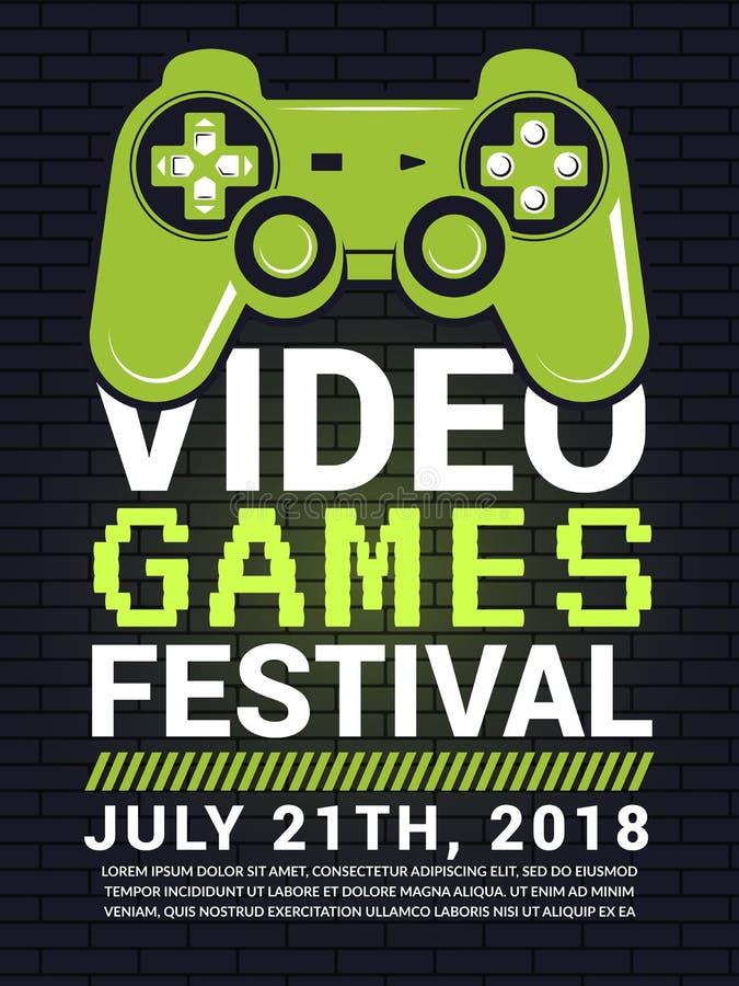 Плакат фестиваля видеоигры Концепция спорта кибер с изображением gamepad иллюстрация вектора