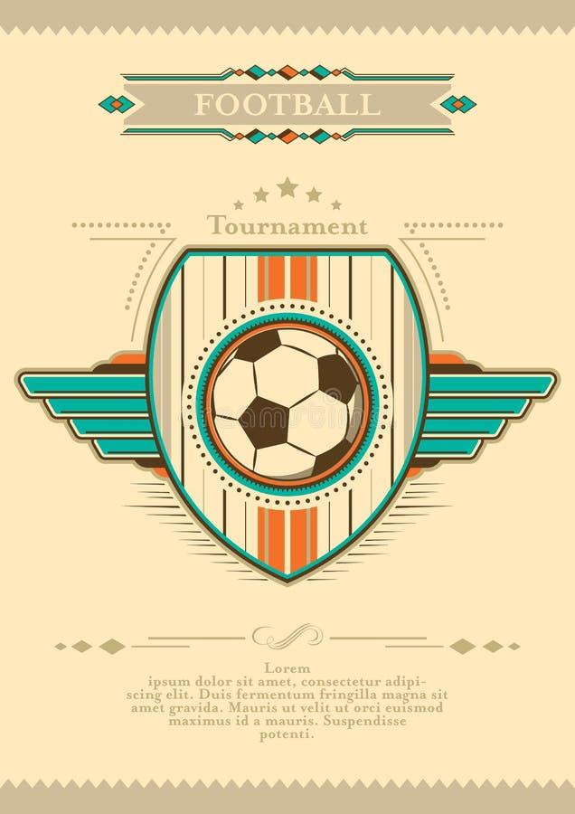 Плакат футбола в ретро стиле с эмблемой и шариком Приглашение турнира бесплатная иллюстрация