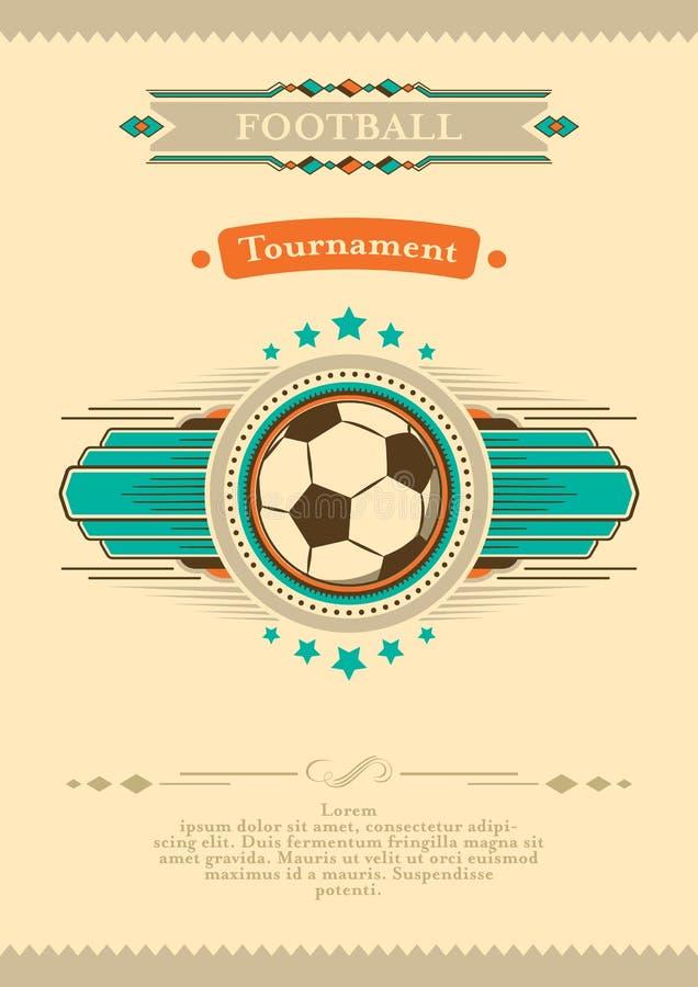 Плакат футбола в ретро стиле с эмблемой и шариком Приглашение турнира иллюстрация штока