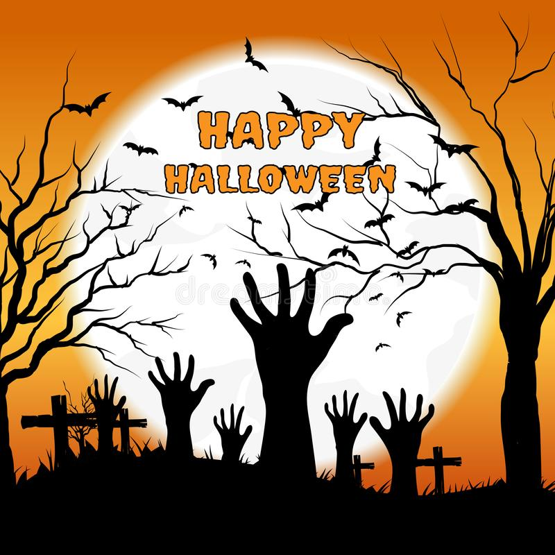 Плакат хеллоуина с руками и летучими мышами зомби на предпосылке полнолуния, иллюстрации иллюстрация штока