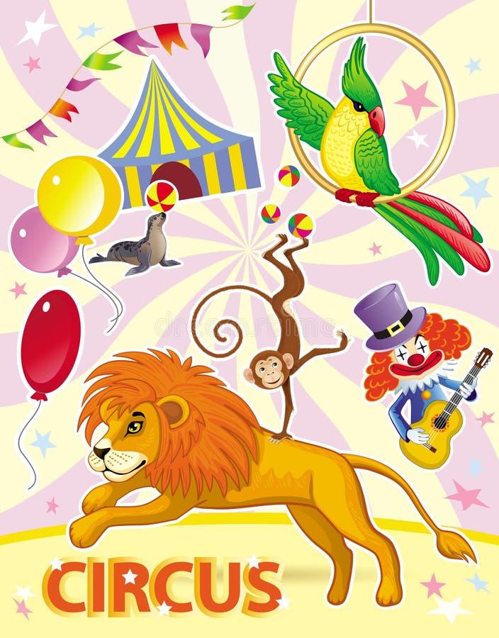 Плакат цирка с львом, обезьяной, попугаем и клоуном бесплатная иллюстрация