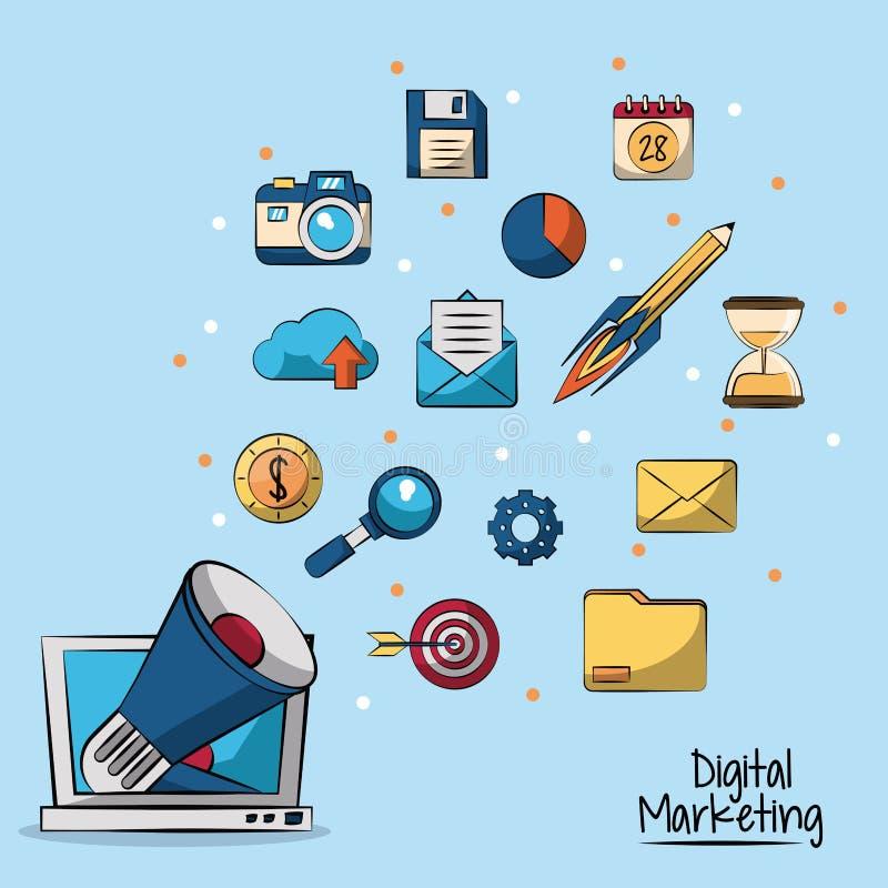 Плакат цифрового маркетинга в голубой предпосылке при мегафон приходя из монитора lcd в крупном плане и выходя на рынок значках иллюстрация вектора