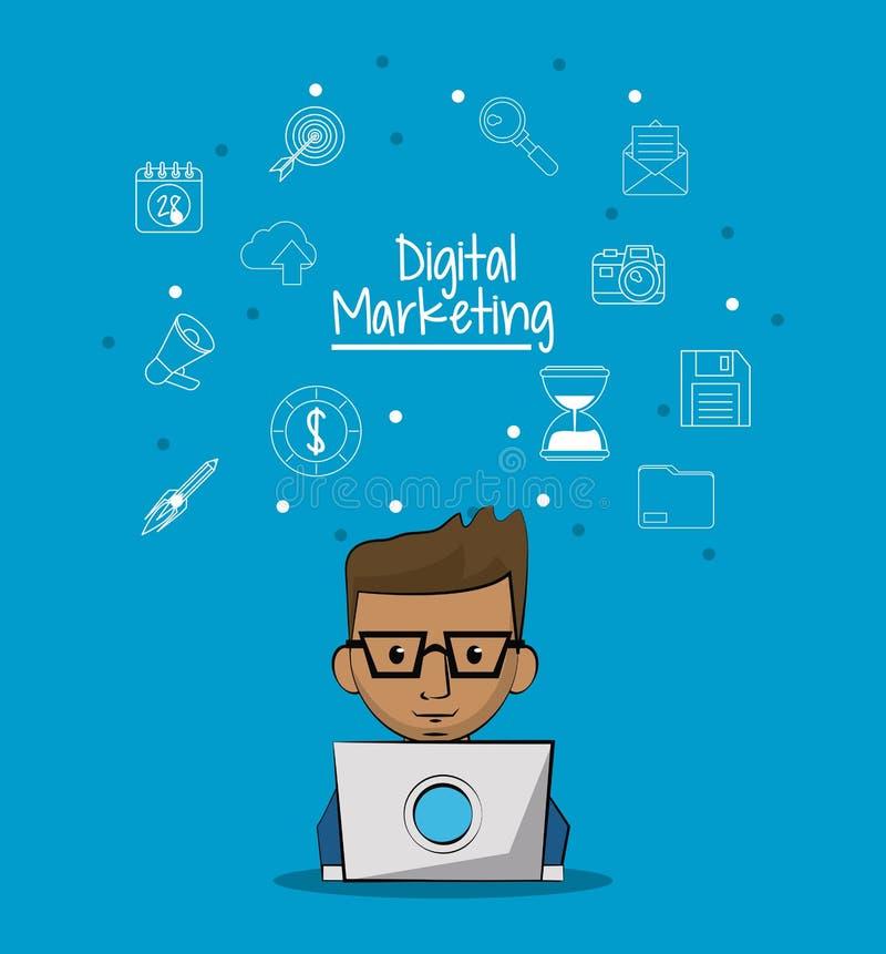 Плакат цифрового маркетинга при человек работая в портативном компьютере и предпосылке эскиза значков маркетинга иллюстрация вектора