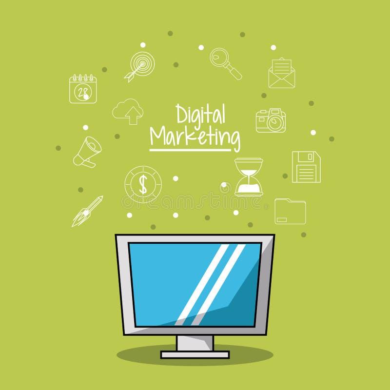 Плакат цифрового маркетинга с монитором lcd и предпосылка эскиза значков маркетинга иллюстрация вектора