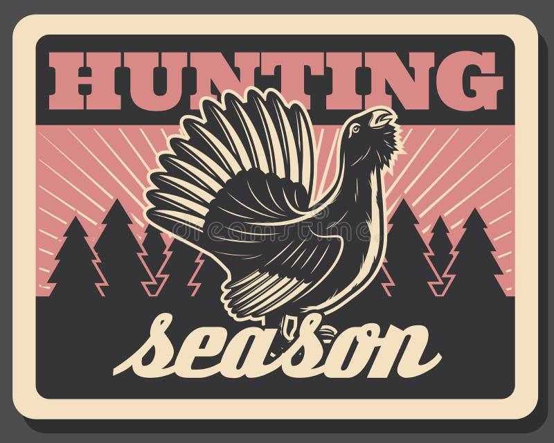 Плакат blackcock вектора ретро на сезон звероловства иллюстрация штока