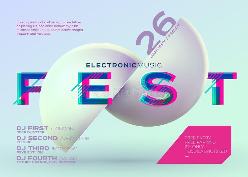 Плакат DJ вектора минимальный Крышка электронной музыки для фестиваля музыки иллюстрация вектора