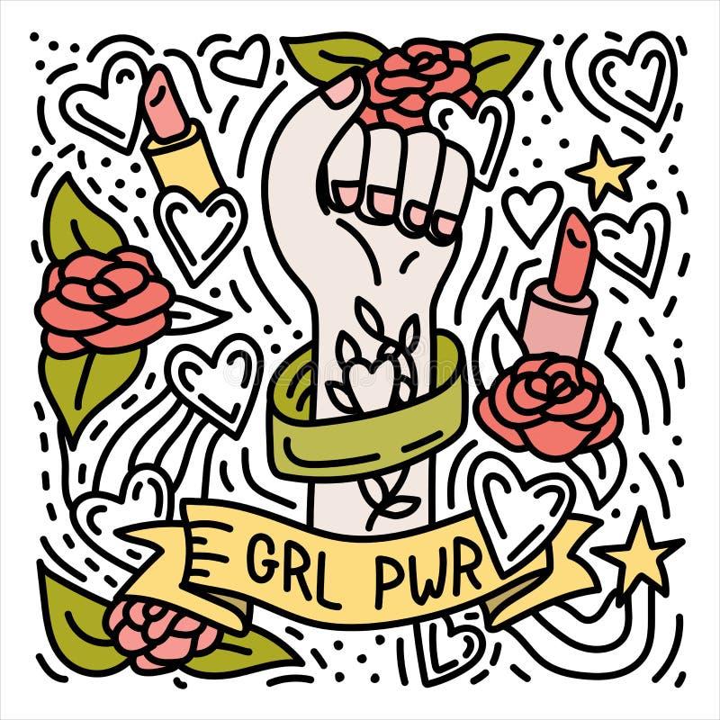 Плакат doodle силы девушки нарисованный рукой феминист с кулаком ` s женщины иллюстрация вектора